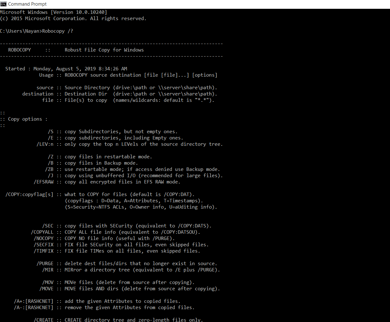 robocopy one file
