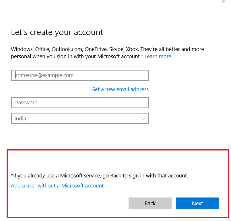 add a user wiothout a microsoft account